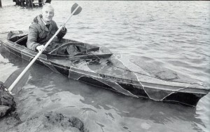Training in the waters around Canvey for his re-enactment in 1983 (courtesy of CanveyIsland.org)